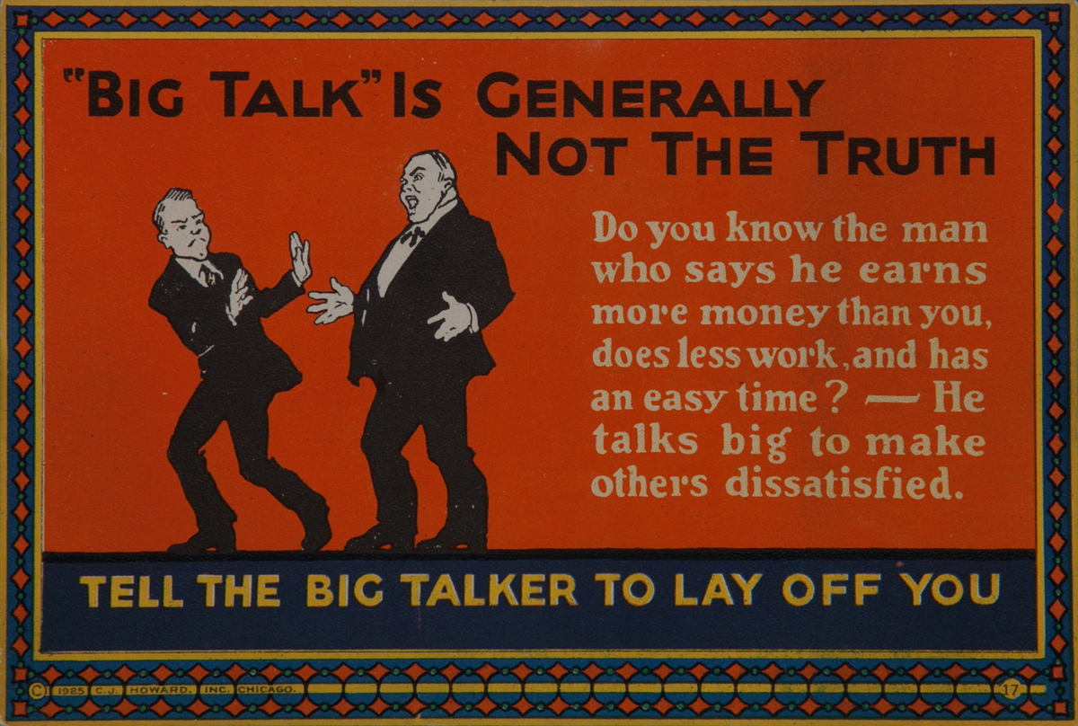 C J Howard Work Incentive Card #17 - Big Talk is Generally Not the Truth