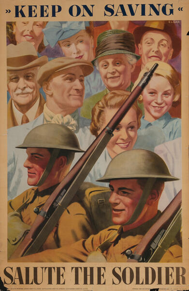 Keep on Savings - Salute the Soldier British WWII Poster