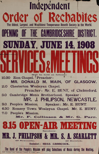 Independent Order of Rechabites Meeting Poster, Cambridgeshire District