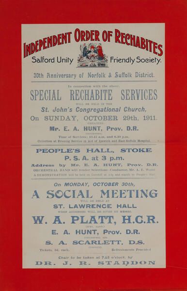 Independent Order of Rechabites Meeting Poster, Salford Unity Friendly Society
