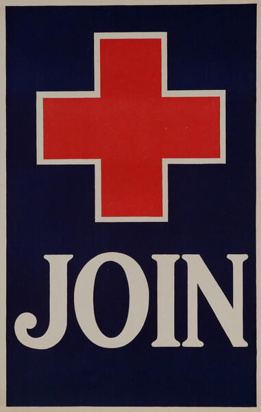World War One Red Cross Poster - Join Red Cross in blue field