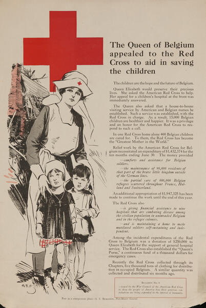 World War One Red Cross Poster - The Queen of Belgium had appealed to the Red Cross to aid in saving the children