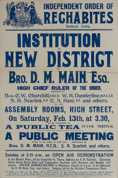 Independent Order of Rechabites Meeting Poster, Salford Unity,  Institution New District