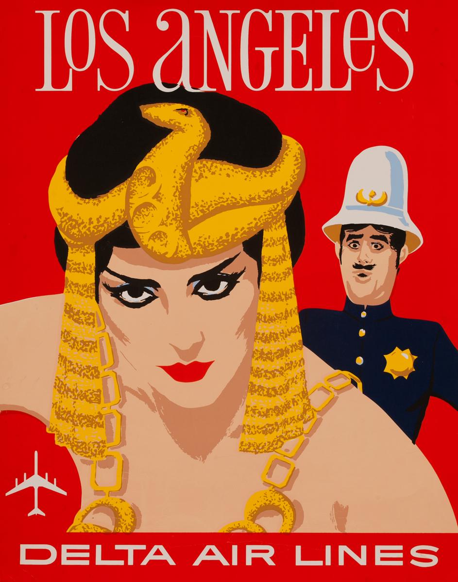 Delta Airlines Travel Poster Los Angeles California Silkscreen
