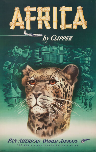 Africa by Clipper, Pan Am Travel Poster - Leopard