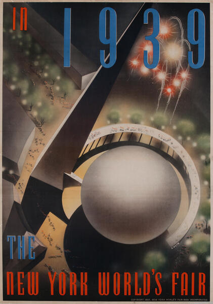 in 1939 - The New York World's Fair Original  Trylon and Perisphere Poster