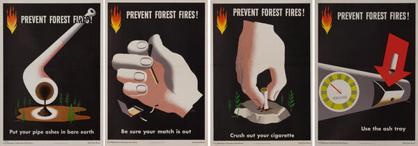 Prevent Forest Fires, Set of 4 Rare Modernist Posters