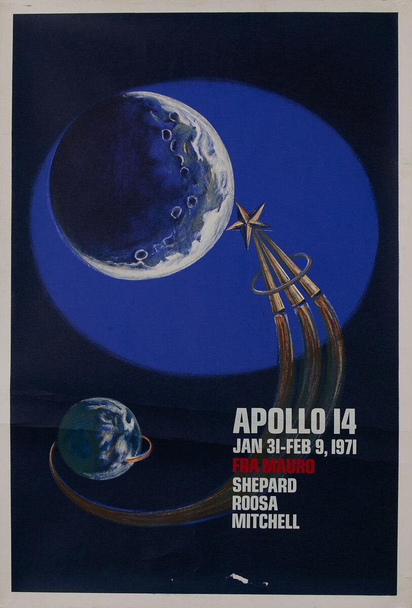 Apollo 14 Jan 31-Feb 9, 1971 Space Exploration Commemorative Poster