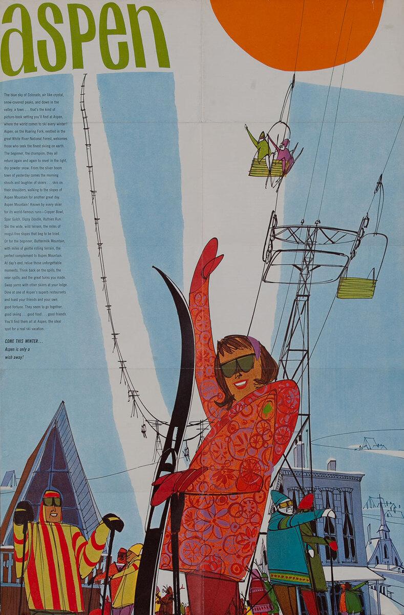 Aspen, Colorado Midcentury Hip Ski Poster