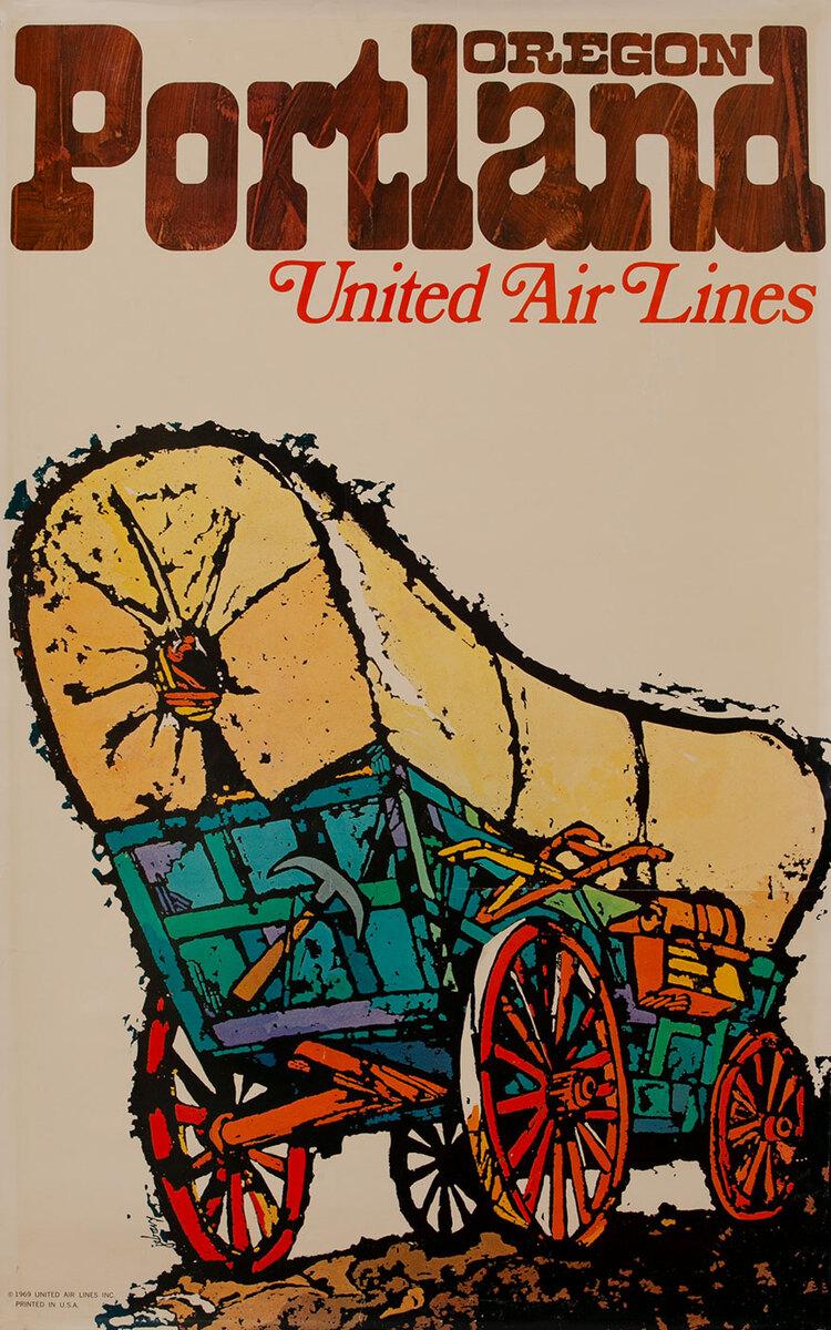 United Airlines Poster Portland Oregon Wagin Train