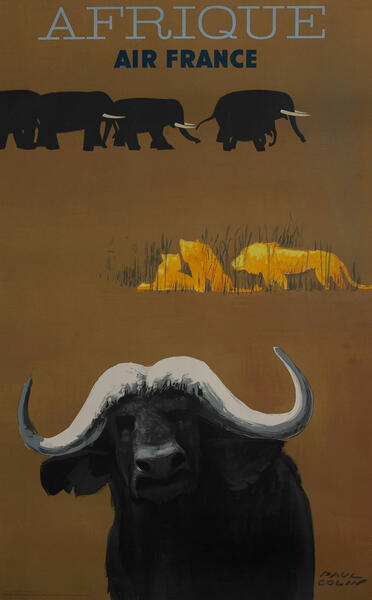 Afrique Air France Travel Poster, water buffalo