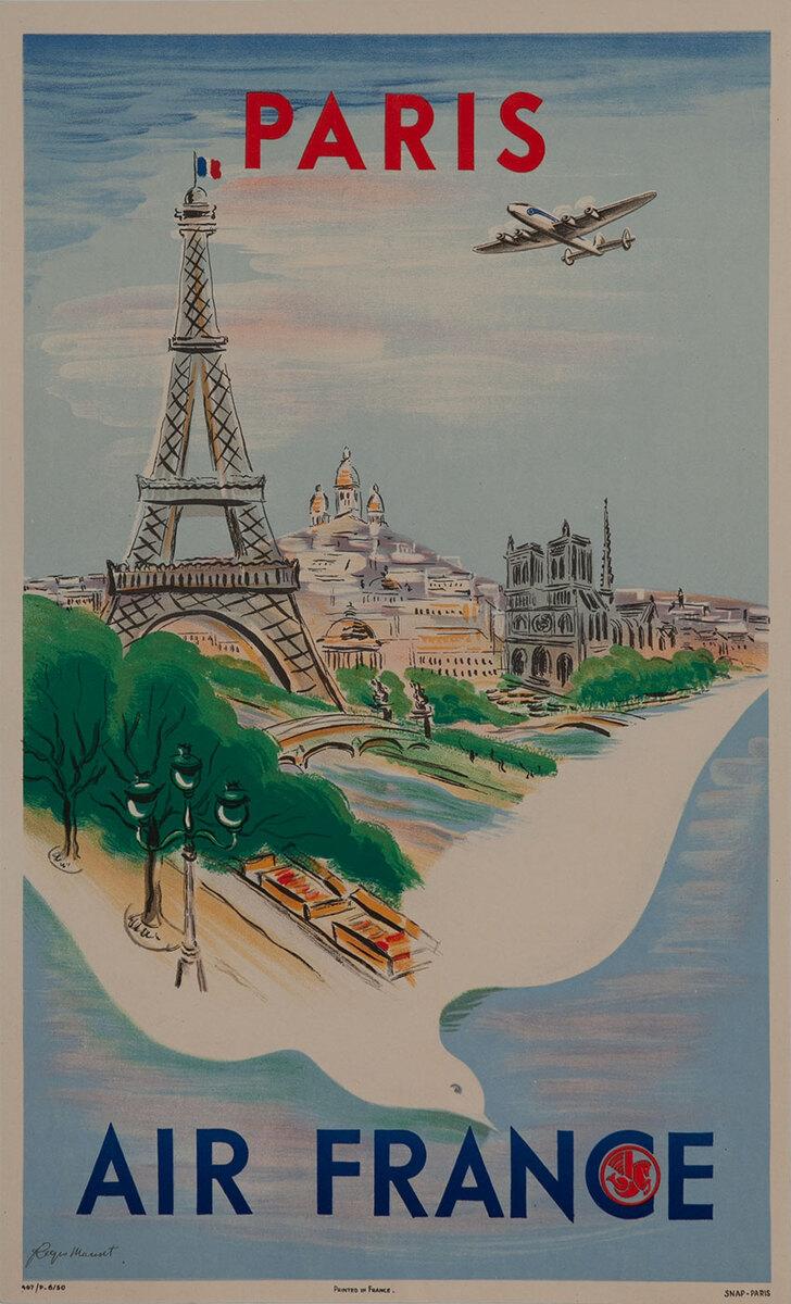 Paris Air France Original Travel Poster, dove, small size