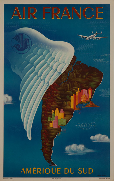 Air France Amerique du Sud, quarter sheet travel poster