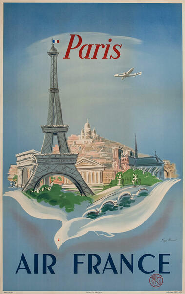 Air France Travel Poster, Eiffel Tower, dove