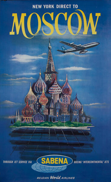 New York Direct to Moscow - Sabena Travel Poster