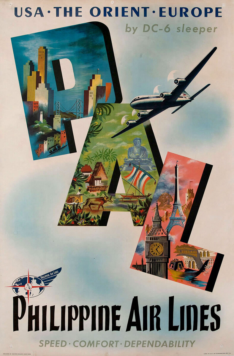USA - The Orient - Europe Philippine Air Lines By DC-6 Sleeper  Speed - Comfort - Dependability