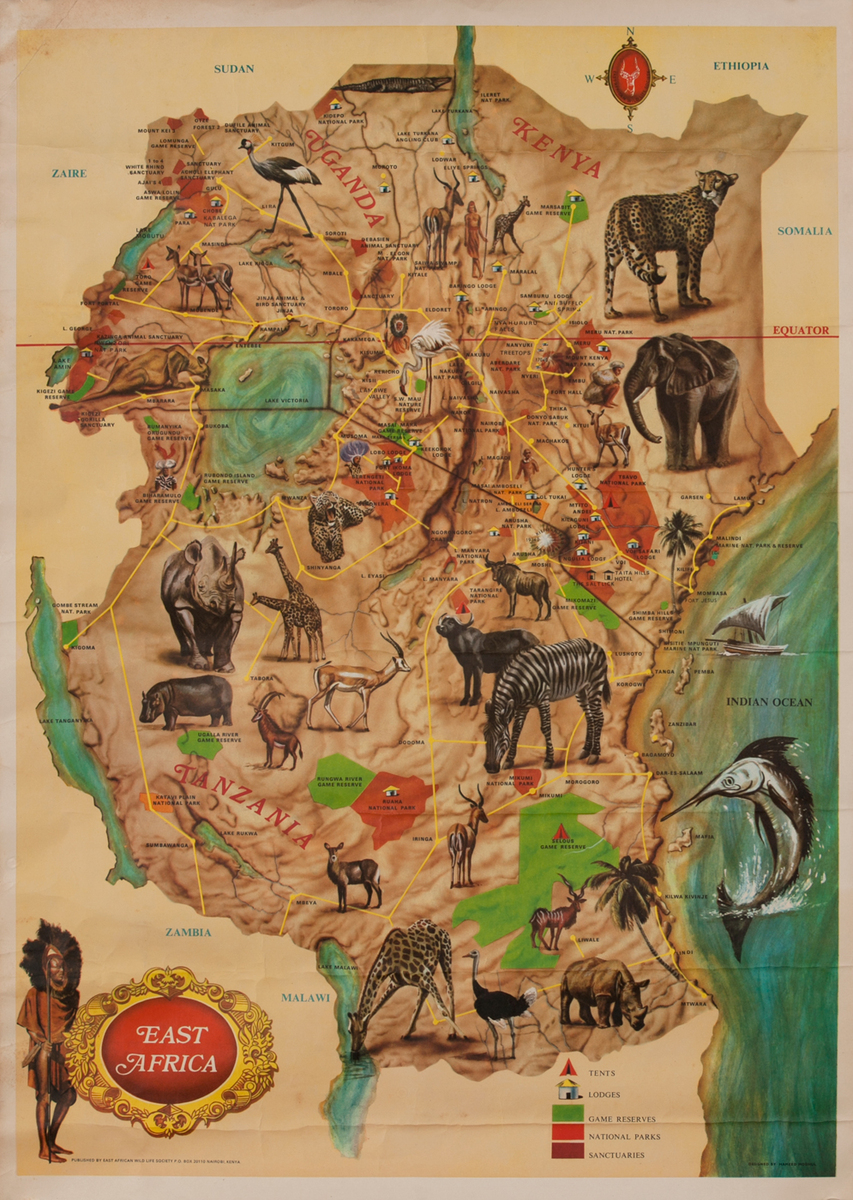 East African Wild Life Society Animal Conservation Poster East Africa Map