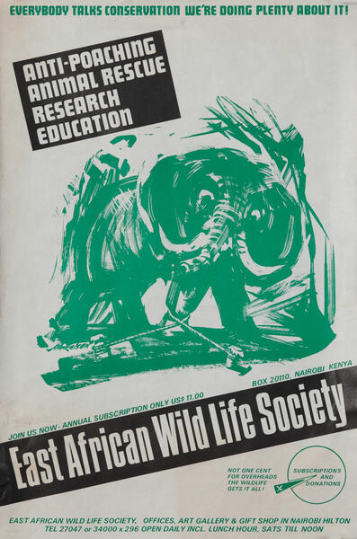 East African Wild Life Society Animal Conservation Poster, elephant (green)