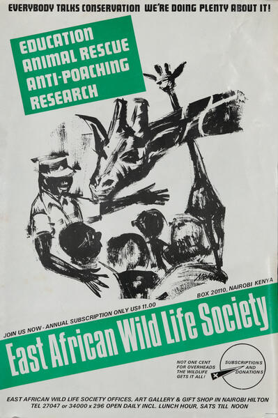 East African Wild Life Society Animal Conservation Poster,  giraffe
