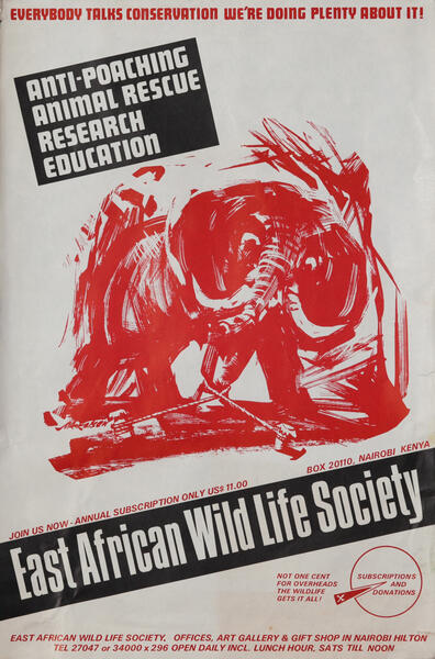 East African Wild Life Society Animal Conservation Poster, elephant (red)