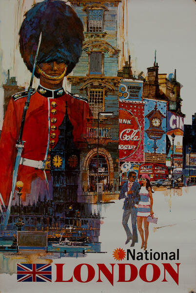 National Airlines London Travel Poster, Queen's Guard