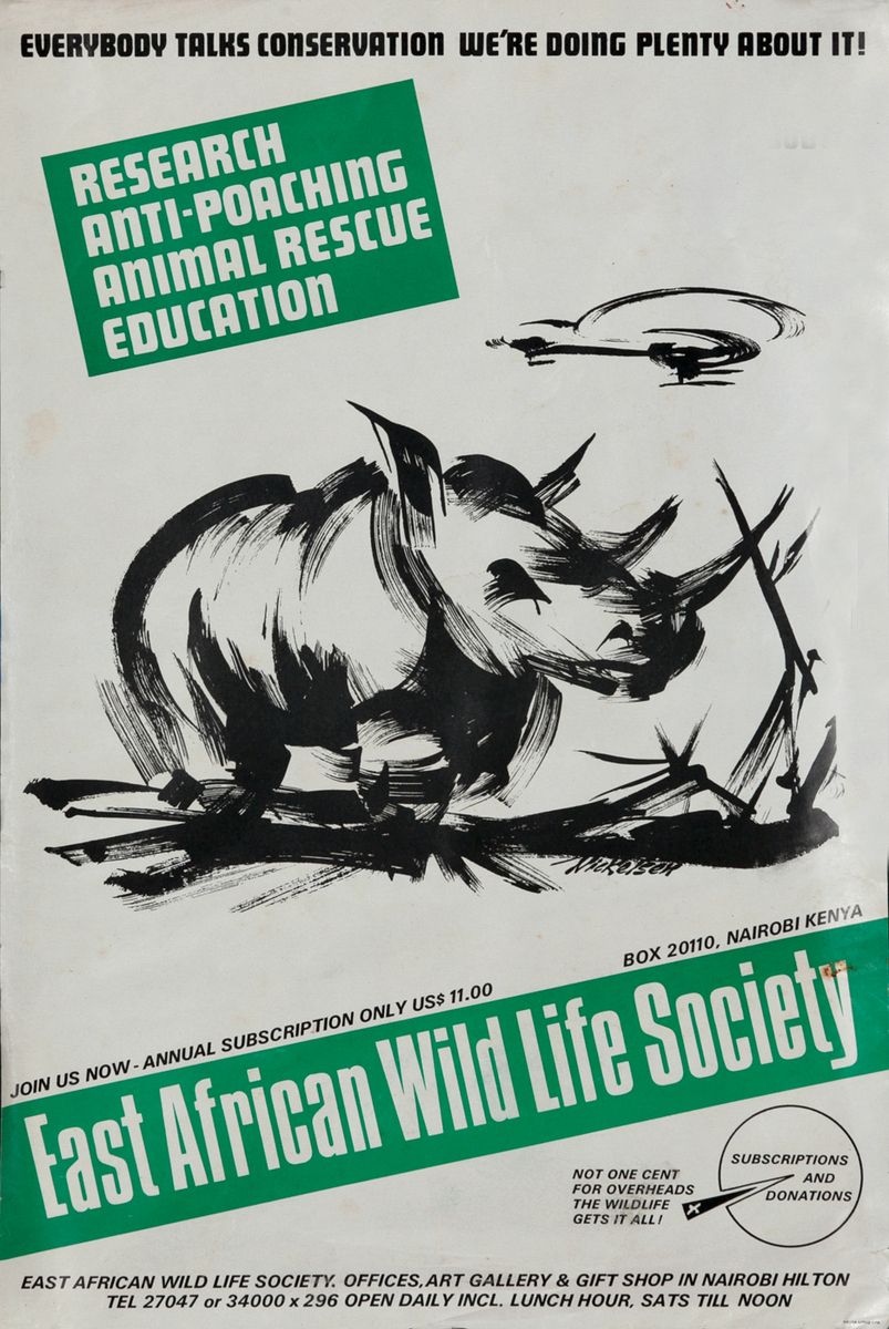 East African Wild Life Society Animal Conservation Poster Rhino