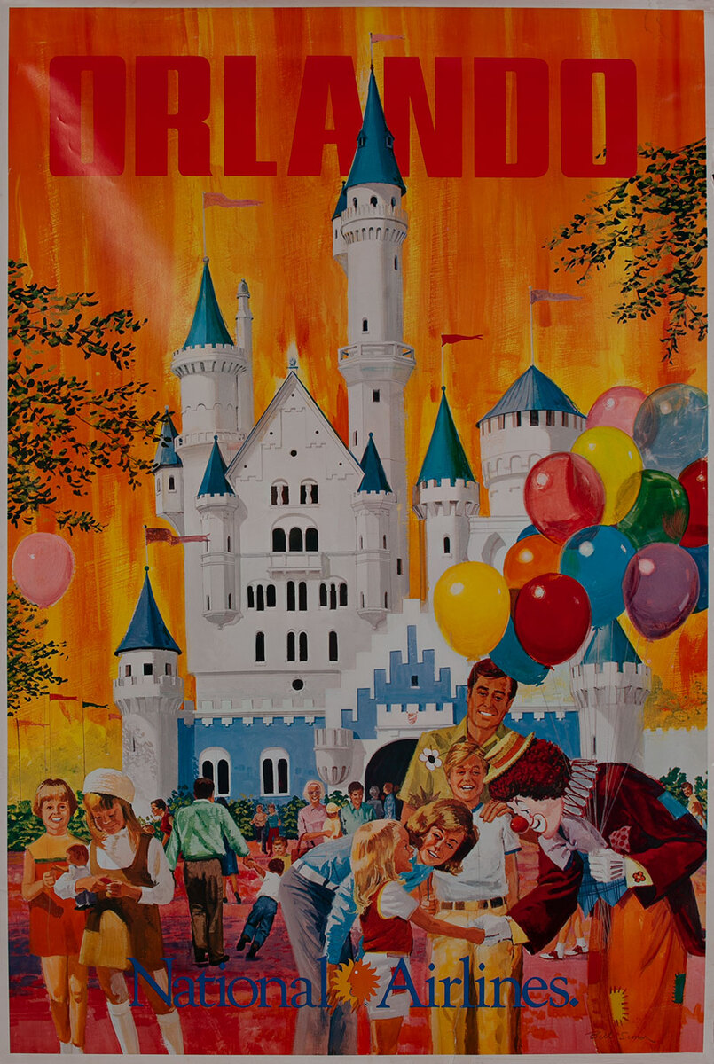 National Airlines Orlando Travel Poster,