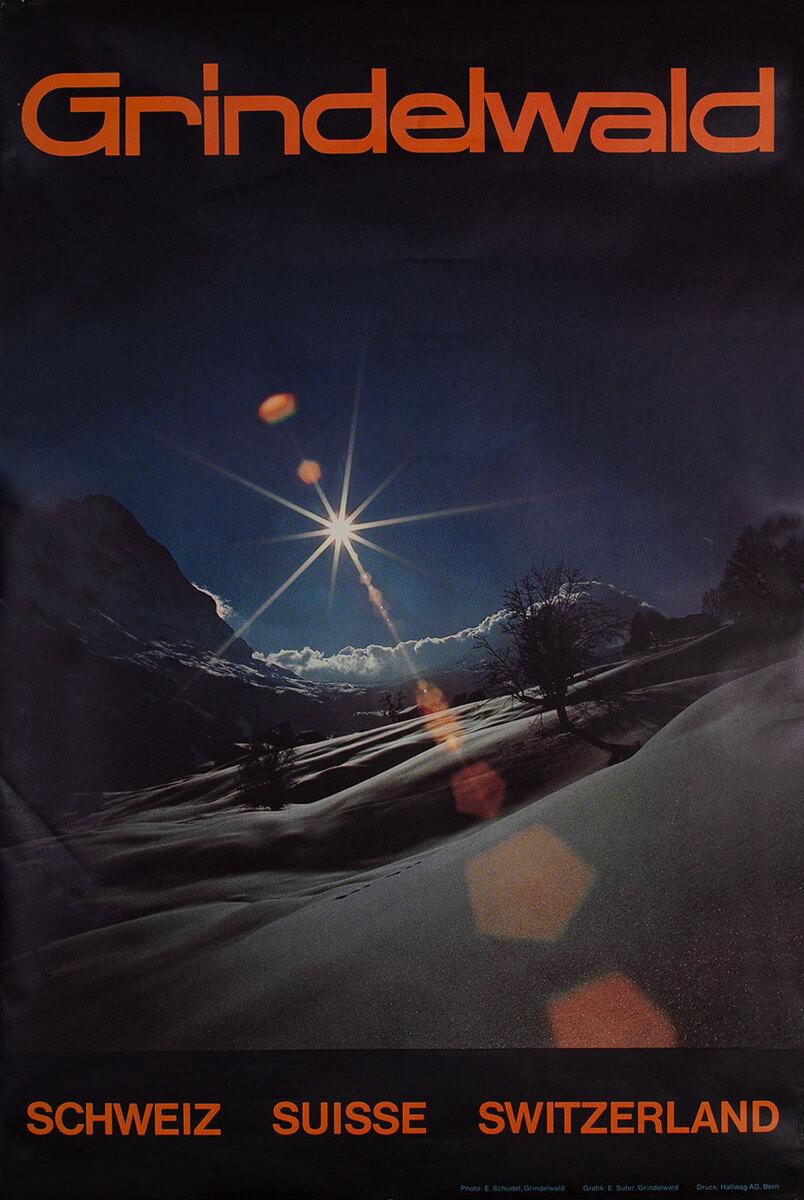Grindelwald Switzerland Travel Poster, ski photo