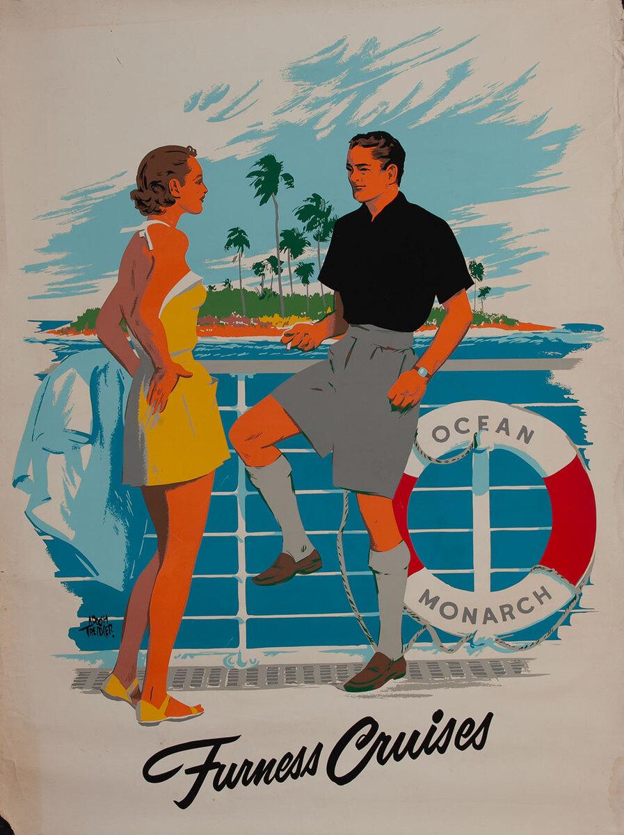 Furness Cruises Ocean Monarch Bermuda Travel Poster