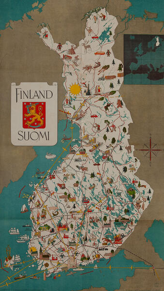 Finland Suomi Travel Map Poster
