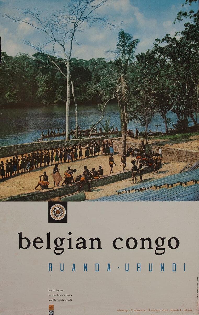 Belgian Congo Ruanda Urundi Travel Poster, river photo