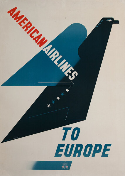 American Airlines To Europe Travel Poster