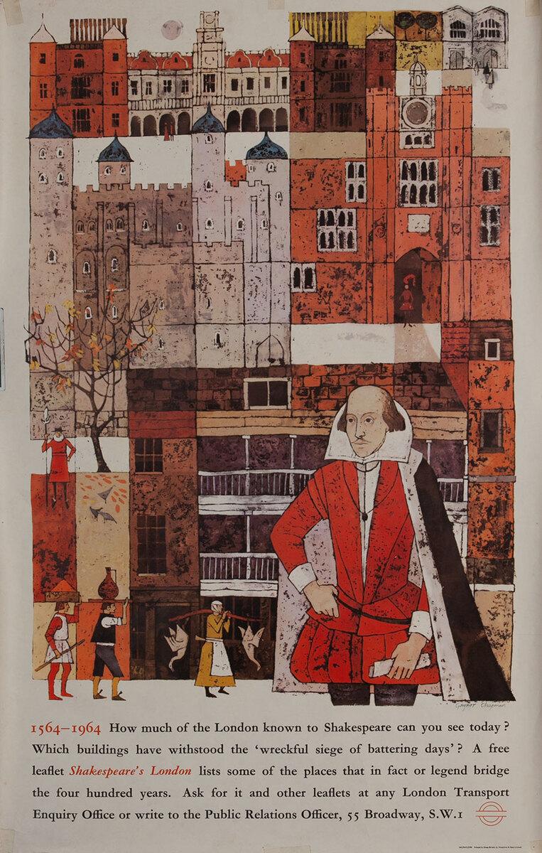 London Underground Travel Poster 1564-1964 Shakspeare
