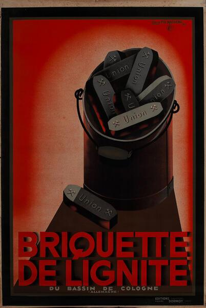 Briquette de Lignite, Franch Charcoal Advertising Poster