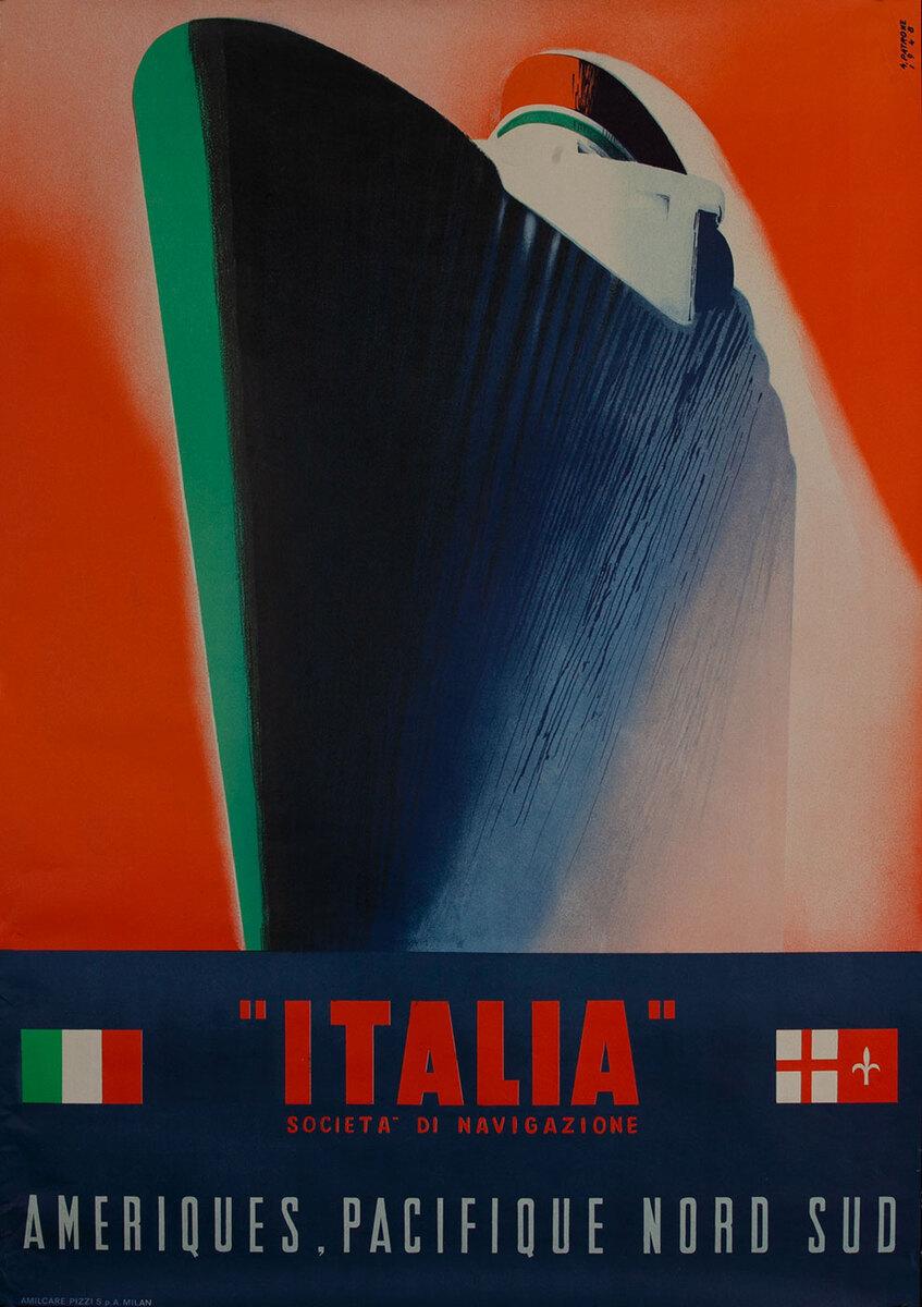 Italia, Societa di Navigazione Italain Cruise Poster