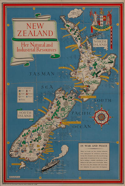 New Zealand Her Natural and Industrial Resources British WWII Poster