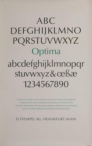 D Stempel AG Typeface Poster<br>Optima