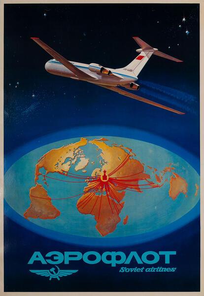 Aeroflot Soviet Airlines  Ilyushin IL-62 Aircraft Poster
