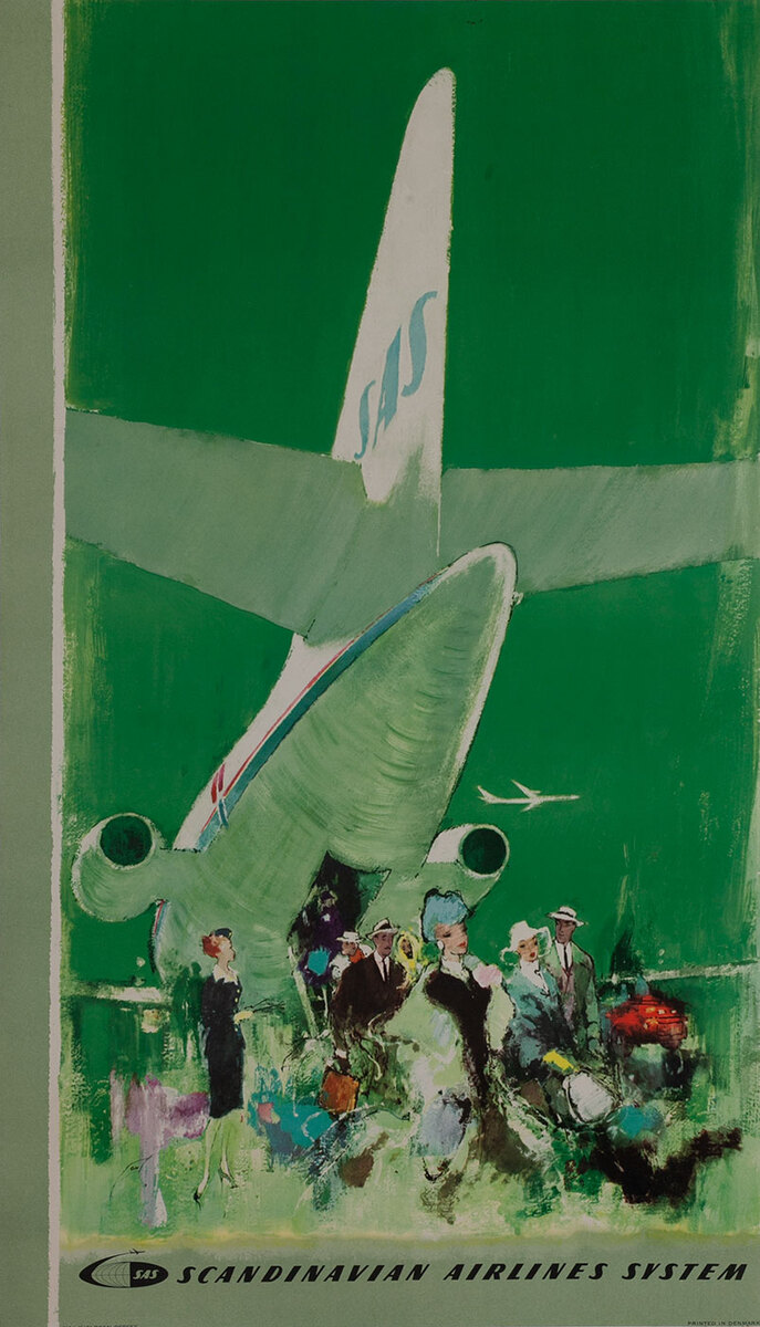 Scandinavian Airlines System SAS Travel Poster Caravelle