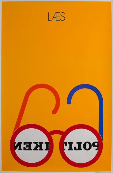 Laes Politiken Danish Advertising Poster yellow