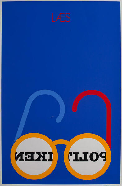 Laes Politiken Danish Advertising Poster blue
