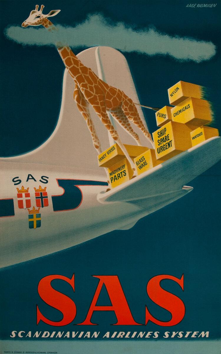 Scandinavian Airlines System SAS Cargo Poster - Giraffe