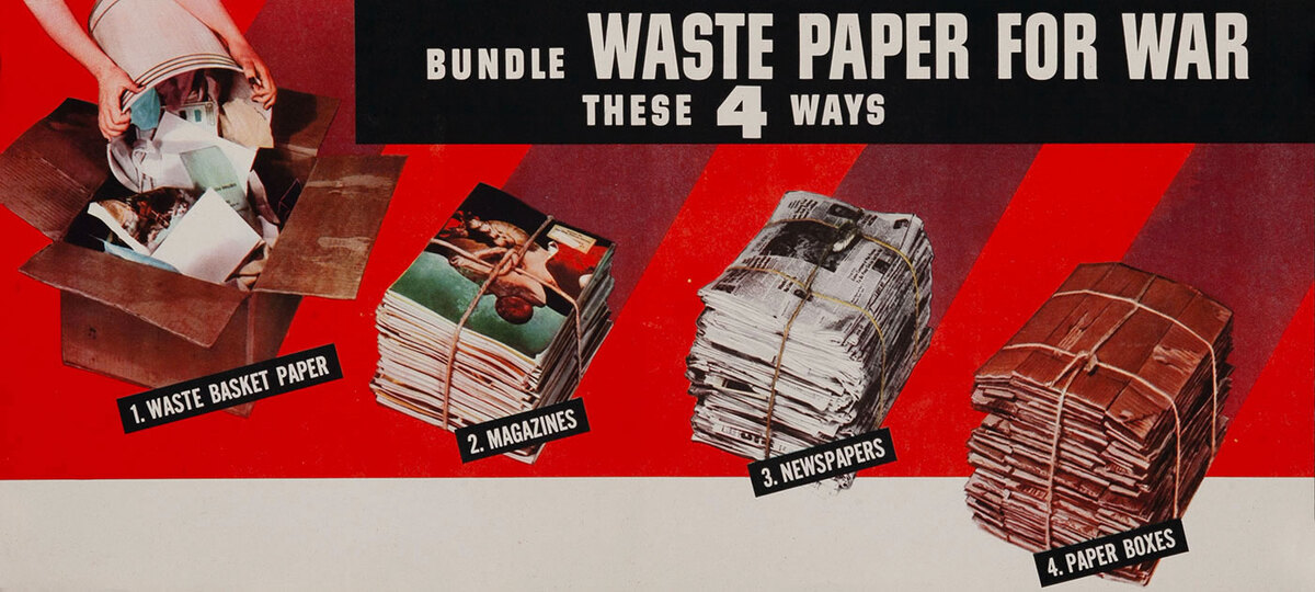Bundle Waste Paper these 4 Ways, WWII Conservation Poster