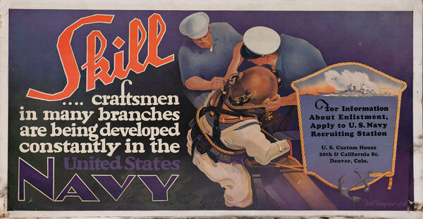 Skill United States Navy Recruiting Poster, hardhat diver