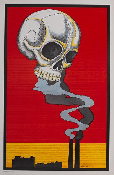 Industrial Pollution Causes Death  Skull- (Vagabond Creations}