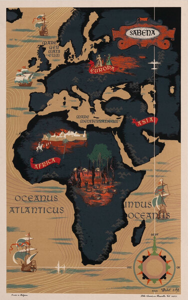 Sabena Belgian Airlines - Europe Africa Map Poster.
