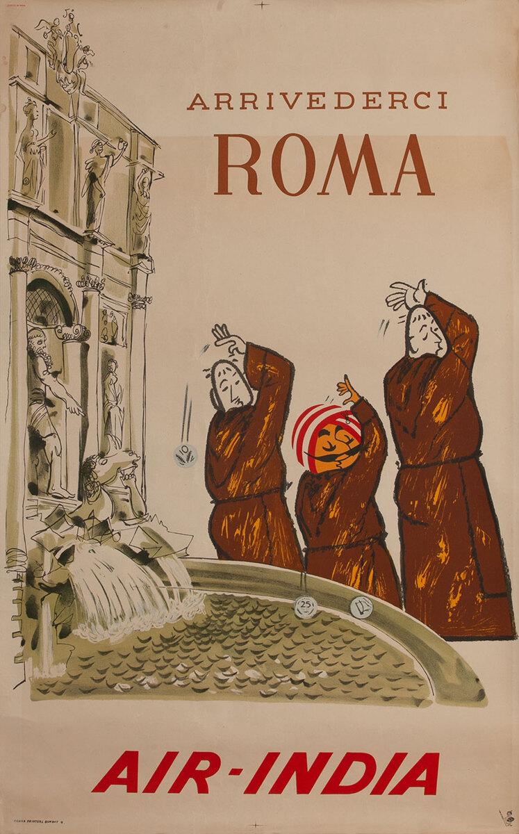 Arrivederci Roma, Air India Travel Poster, Trevi Fountain
