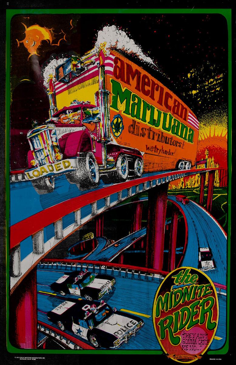 American Marijuana  Distributors, The Midnite Rider, Psychedelic Blacklight Poster