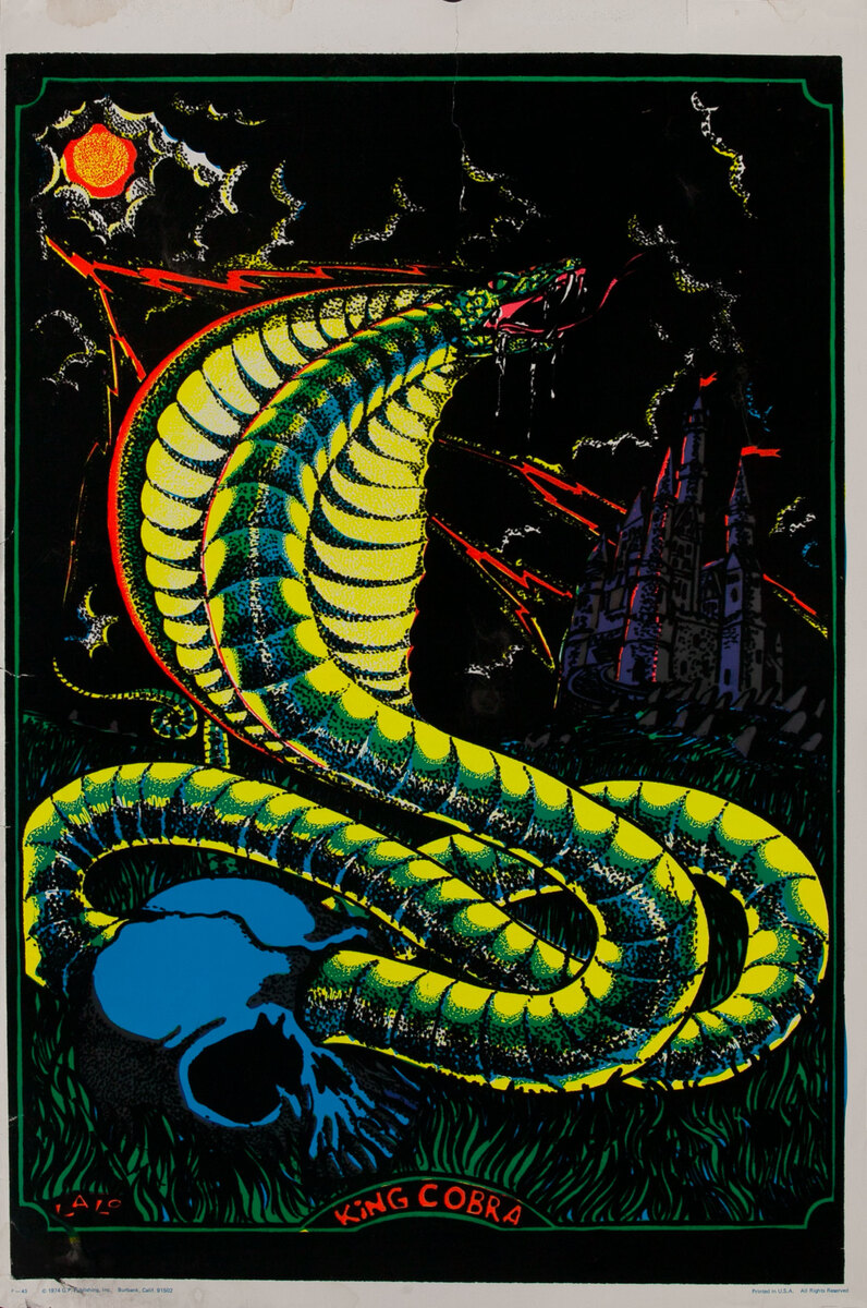 King Cobra Psychedelic Black Light Poster