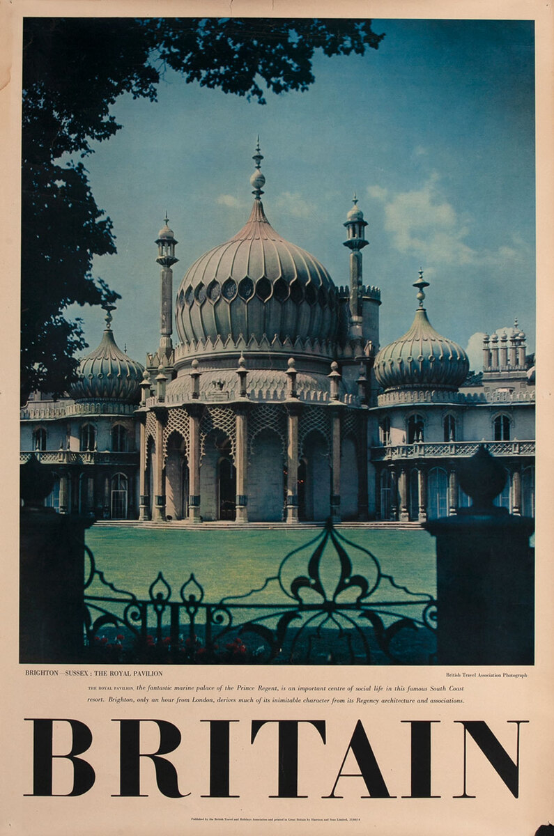 Britain, Brighton - Sussex : The Royal Pavilion Travel Poster